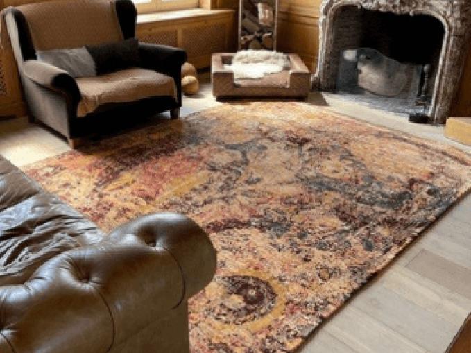 Vantyghem Fashionable Flooring handgeknoopt designtapijt Fading fall wol en bamboe zijde zonder franjes Creative designs by Michèle Lambrecht tapijt