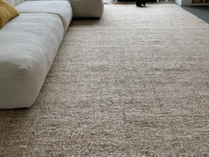 Handgeweven tapijt in wol en jute kleur beige Vantyghem Fashionable Flooring