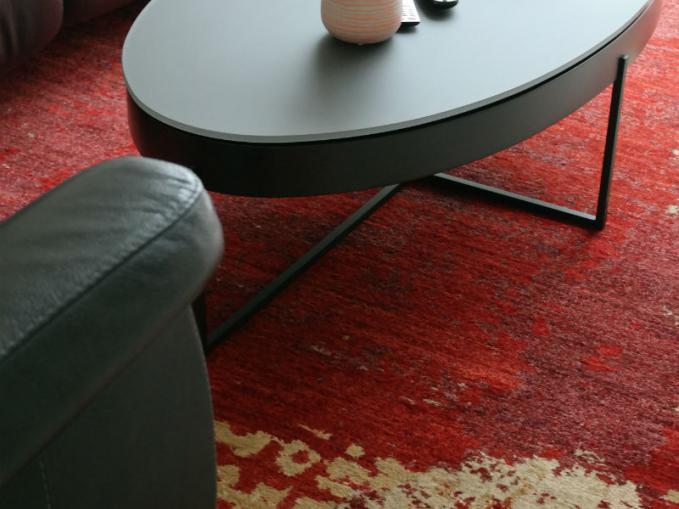 aatich double knot handgeknoopt rood tapijt zonder franjes