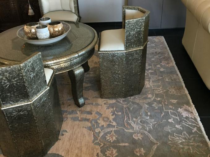 handgeknoopt tapijt arrabiata in wol en bamboe zijde