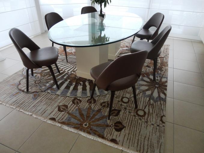 Handgeknoopt tapijt met franjes