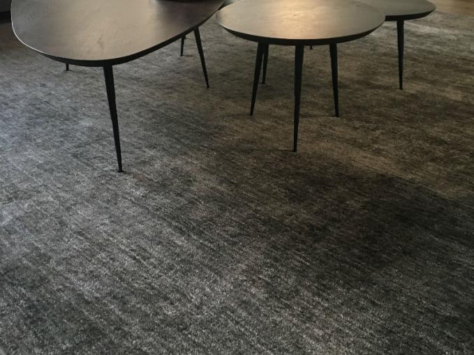 groot vloerkleed in grijs voor onder de salontafel