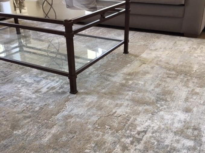 handgeknoopt Indisch tapijt DESERT STORM handgesneden in wol en bamboe zijde