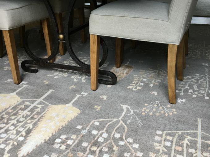 handgeknoopt tapijt in wol en zijde