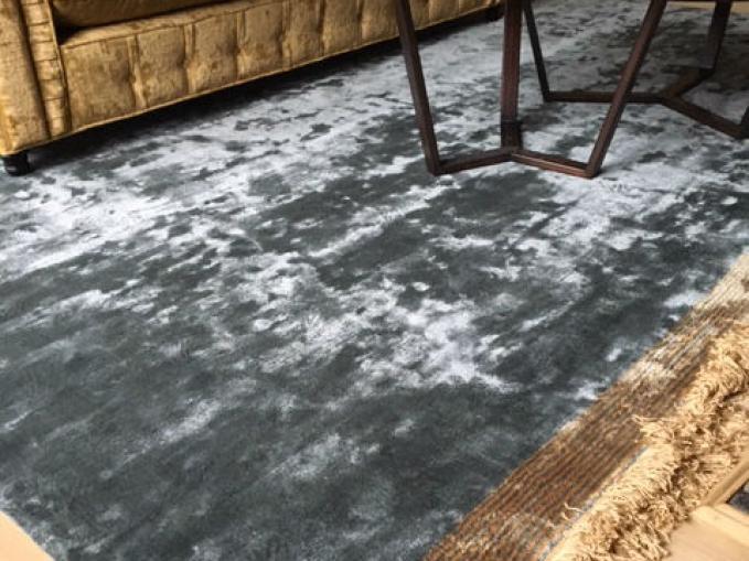 effen tapijt in bamboe zijde